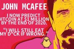 John McAfee吃鸡倒数372天,比特币价格能否达到一百万美元?