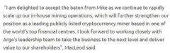 Argo Blockchain任命Ian Macleod为新董事长