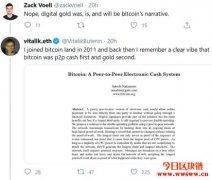 """以太坊创始人V神告诉比特币开发者:BTC并不总是""""数字黄金"""""""