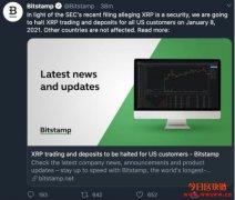 美国交易所Bitstamp宣布,明年一月停止美国用户交易XRP